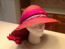 Maroon Straw Hat with Floral and Faux Jewel Design very Clean and Nice