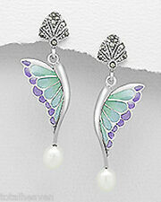 "1.6"" Sterling Silver Marcasite Enamel Pearl Butterfly Earrings Friction Backs 4g"