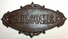 Cast Iron WELCOME Plaque Sign in an Antique Victorian Style Wall Door Decor DB2