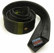 VINTAGE ROCKABILLY 53L Black Olive Green Fleur De Lis SKINNY Mens Neck Tie