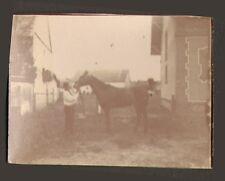 TOUTE PETITE PHOTO GUERRE WAR KRIEG 14/18 SOLDAT AVEC CHEVAL LA MARNE 1915
