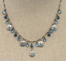 NEW ANNE KOPLIK BLUE NAUTICAL SAND DOLLAR CHARM NECKLACE SWAROVSKI CRYSTALS