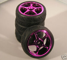 DYNH1124 RC Car Wheels & Tyres 1:10 12mm Hex Purple Chrome 5 Spoke Tamiya HPI