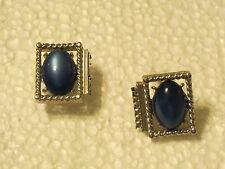 "Vintage   Cufflink Set  Silver Tone Onyx with initial ""C"""