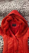 MISS WINTER COLLECTION coral orange bright red fur winter jacket size 10