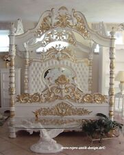 Four Poster Bed Antique Solid White Gold Angel prunkbett Marriage Double Stile