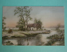 Old French postcard. Unknown painting of river & boat. Luxographie Serie No 54.