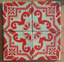 """10 Talavera Mexican TILE tiles pottery 4"""" FOUR make a pattern VINTAGE Cherry Red"""