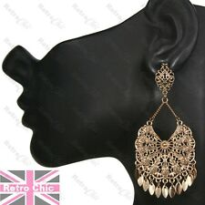 Long 8cm ORNATE GYPSY CHANDELIER EARRINGS antique gold tone RETRO VINTAGE STYLE