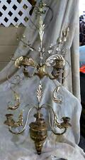 Vintage Carved Silver Gilt Italian Wood Wrought Iron Wall Sconce Tole Metal Old