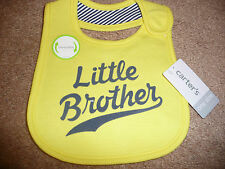 "NEW Carters boy bib ""LITTLE BROTHER"" with reversible NWT"