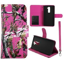For LG G2 VS980 Wallet S Leather Real Pink Camo Girlzzzsss Case Cover