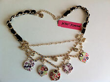 Betsey Johnson Charm Necklace Rhinestones & Floral Medallions NWT Free US Ship