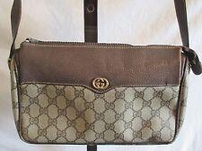 Vtg. GUCCI, Distressed Beige Monogram & Leather Crossbody/Shoulder Handbag