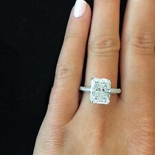 1.60 Ct Natural Radiant Cut Micro Pave Diamond Engagement Ring - GIA Certified