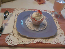 SQUARE DOILY PLACE MAT SETTING TEA PARTY PAPER SET CUP CAKE  WHITE LACE 12 SET