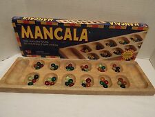 Vintage Mancala Solid Wood Board 48 Glass Beads Universary Games