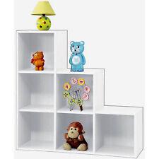 En bois blanc cube bibliothèque carrée étape cubes unité étagère livres stockage organisateur