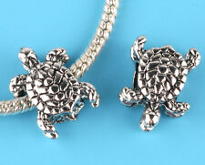 2pcs Tibetan silver turtle Charm Spacer beads fit European Bracelet Chain #L23