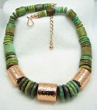 Jay King DTR Gorgeous Green Turquoise & Copper Barrel Chunky Necklace