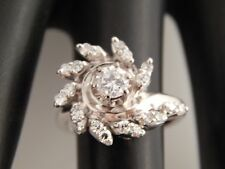 Round Brilliant Diamond Cocktail Ring .60 tcw E/VS ART DECO Platinum Estate