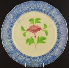 """BLUE SPATTERWARE RED COXCOMB DECORATED PLATE C.1850-8 1/2"""" SPATTERWARE PLATE-B"""