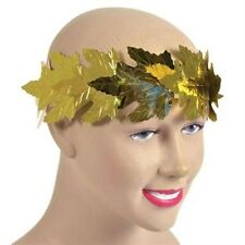 Gold Foil Laurel Leaf Crown Roman Greek Head Band Fancy Dress Adult NEW P843