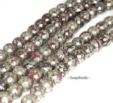 8MM RED IRON PYRITE INCLUSIONS GEMSTONE GRADE AA ROUND 8MM LOOSE BEADS 7.5""