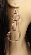 DANGLE TRIPLE HOOP EARRINGS ANTIQUE GOLD AND COPPER TONE LIGHTWEIGHT 5 IN L