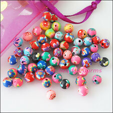 35Pcs Mixed Handmade Polymer Fimo Clay Round Spacer Beads Charms 6mm