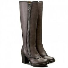 FLY LONDON 'HOCK' DARK BROWN LEATHER KNEE HIGH HEELED BOOTS UK 7 EUR 40 RRP £165