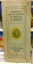 La. State Board Of Medical Examiners Book 1962 Official List Surgeons MDs Midwiv
