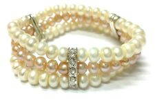 Closeout GENUINE TRIPLE STRAND WHT/ Plum CORN CULTURED FRESHWATER PEARL BRACELET