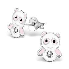 925 Sterling Silver Panda Crystal Stud Earrings Christmas Pink & White Kawaii