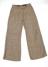 P411/17 H&M Donna Marrone Lino Foderato Cotone Pantaloni Casual, Uk 8 EURO 34