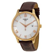 Tissot Tradition Gents Quartz Silver Dial Brown Leather Mens Watch