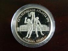 Silbermünze 100 Jahre Olympia Atlanta 1994 Basketball 999/1000 35 mm 15 g  PP