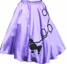 "Lavender SATIN 50s Poodle Skirt _ Adult Size MEDIUM _ Waist 30""-37"" _ Length 25"""