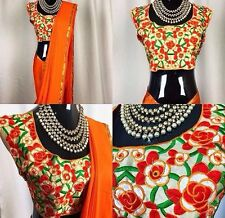 Orange Designere Sareee with Golden bordered saree with designer Blouse