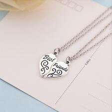 "2PCS New Letter ""BEST FRIEND"" Friendship Heart Silver Pendant Necklace Girl Gift"