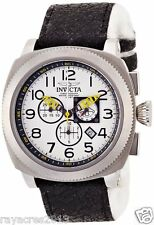 Invicta 12314 Mens Aviator Stainless Steel Case Cloth and Leather Band