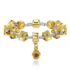 European 14K Gold Plated Crown Charms Bracelet For Women With Murano Glass Beads
