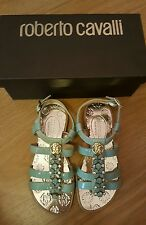 NEW ROBERTO CAVALLI GIRLS AQUA SANDALS SIZE 10uk/ eur 28. LEATHER
