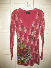 Christian Audigier Sz S Red Knit with Rhinestone and Foil trim LS Dress