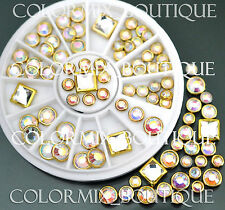 #R41 Nail Art Tips Decoration Square Round Multicolor Glitter  Rhinestones+Wheel