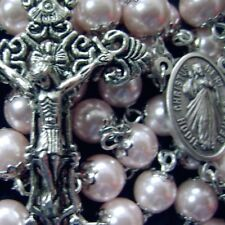 Pink  GLASS BEADS Rosary Cross Necklace & Silver Color 5.5 CM crucifix catholic