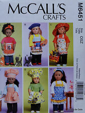 "McCall's 6451 Sewing PATTERN for 18"" American Girl DOLL CLOTHES 6 Apron Styles"