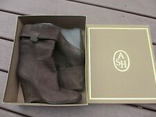 ASH designer boots brown leather wedge heels size 40 - 10  M new