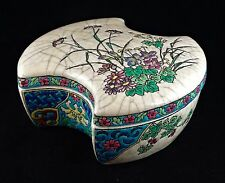 Longwy Pottery French Majolica Lidded Box Floral Decoration