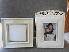 2 Standing Picture Photo Frames Cottage Simply Shabby Chic